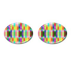Multicolored Irritation Stripes Cufflinks (oval) by designworld65