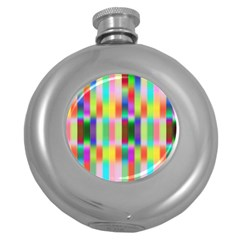 Multicolored Irritation Stripes Round Hip Flask (5 Oz) by designworld65