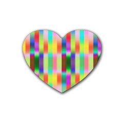 Multicolored Irritation Stripes Heart Coaster (4 Pack)  by designworld65