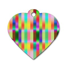 Multicolored Irritation Stripes Dog Tag Heart (one Side) by designworld65
