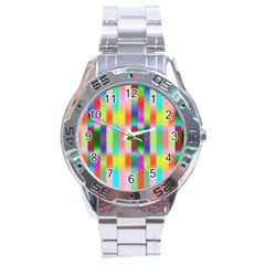 Multicolored Irritation Stripes Stainless Steel Analogue Watch by designworld65