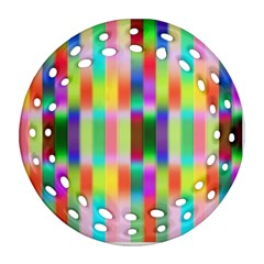 Multicolored Irritation Stripes Ornament (round Filigree) by designworld65