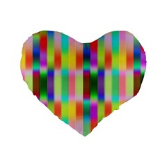 Multicolored Irritation Stripes Standard 16  Premium Flano Heart Shape Cushions by designworld65