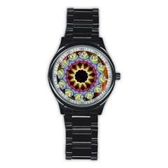 Love Energy Mandala Stainless Steel Round Watch by designworld65
