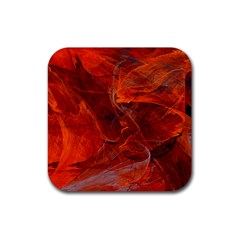 Swirly Love In Deep Red Rubber Square Coaster (4 Pack)  by designworld65