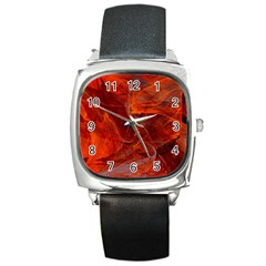 Swirly Love In Deep Red Square Metal Watch by designworld65