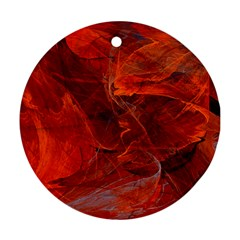 Swirly Love In Deep Red Round Ornament (two Sides) by designworld65