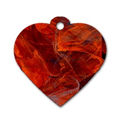 Swirly Love In Deep Red Dog Tag Heart (two Sides) by designworld65