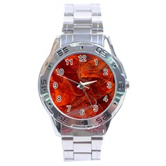 Swirly Love In Deep Red Stainless Steel Analogue Watch by designworld65