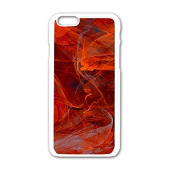 Swirly Love In Deep Red Apple Iphone 6/6s White Enamel Case by designworld65