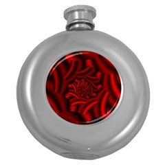 Metallic Red Rose Round Hip Flask (5 Oz) by designworld65