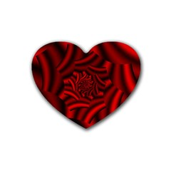 Metallic Red Rose Rubber Coaster (heart)  by designworld65