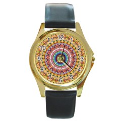 Peaceful Mandala Round Gold Metal Watch by designworld65