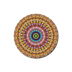 Peaceful Mandala Rubber Coaster (round)  by designworld65