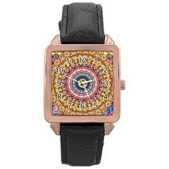Peaceful Mandala Rose Gold Leather Watch  by designworld65