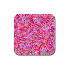 The Big Pink Party Rubber Square Coaster (4 Pack)  by designworld65