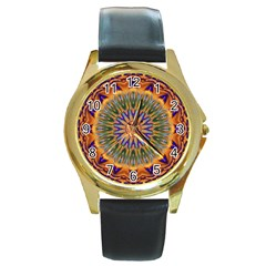 Powerful Mandala Round Gold Metal Watch by designworld65