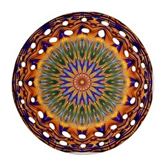 Powerful Mandala Round Filigree Ornament (two Sides) by designworld65