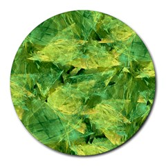 Green Springtime Leafs Round Mousepads by designworld65