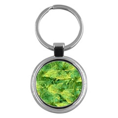 Green Springtime Leafs Key Chains (round)  by designworld65