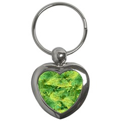 Green Springtime Leafs Key Chains (heart)  by designworld65