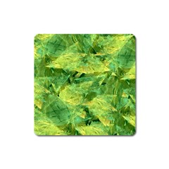 Green Springtime Leafs Square Magnet by designworld65