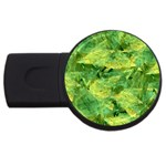 Green Springtime Leafs USB Flash Drive Round (4 GB) Front
