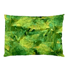 Green Springtime Leafs Pillow Case by designworld65