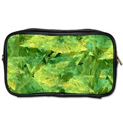 Green Springtime Leafs Toiletries Bags 2 Side by designworld65