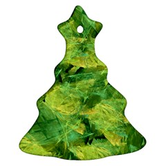 Green Springtime Leafs Christmas Tree Ornament (two Sides) by designworld65