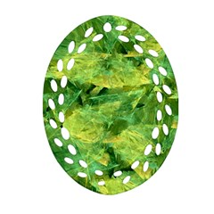 Green Springtime Leafs Oval Filigree Ornament (two Sides) by designworld65