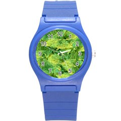 Green Springtime Leafs Round Plastic Sport Watch (s) by designworld65
