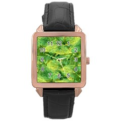 Green Springtime Leafs Rose Gold Leather Watch  by designworld65