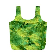 Green Springtime Leafs Full Print Recycle Bags (m)  by designworld65