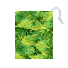 Green Springtime Leafs Drawstring Pouches (large)  by designworld65