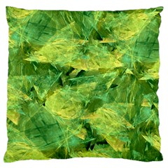 Green Springtime Leafs Large Flano Cushion Case (two Sides) by designworld65