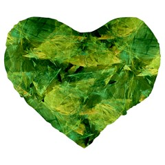 Green Springtime Leafs Large 19  Premium Flano Heart Shape Cushions by designworld65