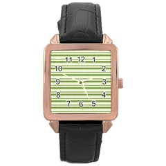 Spring Stripes Rose Gold Leather Watch  by designworld65