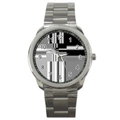 Black And White Endless Window Sport Metal Watch by designworld65