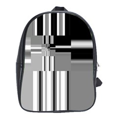 Black And White Endless Window School Bag (xl) by designworld65