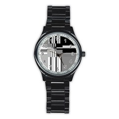 Black And White Endless Window Stainless Steel Round Watch by designworld65