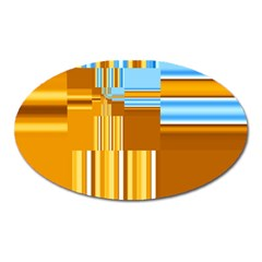 Endless Window Blue Gold Oval Magnet by designworld65
