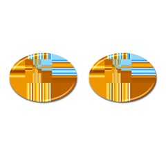 Endless Window Blue Gold Cufflinks (oval) by designworld65