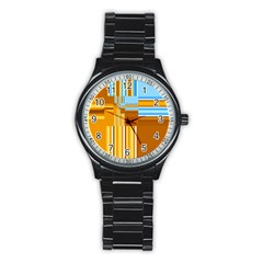 Endless Window Blue Gold Stainless Steel Round Watch by designworld65