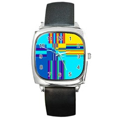 Colorful Endless Window Square Metal Watch by designworld65
