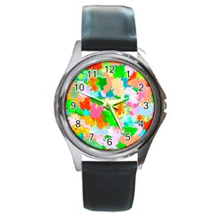 Colorful Summer Splash Round Metal Watch by designworld65