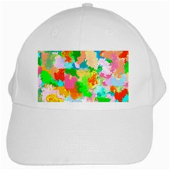 Colorful Summer Splash White Cap by designworld65