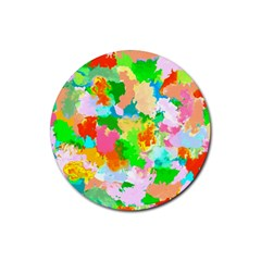 Colorful Summer Splash Rubber Coaster (round)  by designworld65