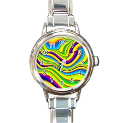 Summer Wave Colors Round Italian Charm Watch by designworld65