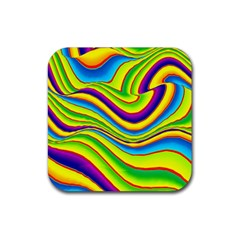 Summer Wave Colors Rubber Coaster (square)  by designworld65